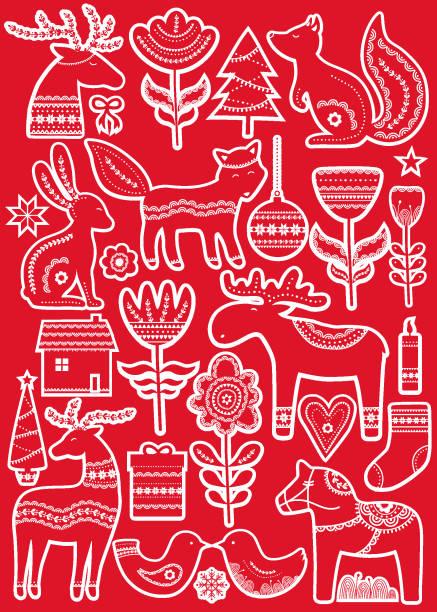 bildbanksillustrationer, clip art samt tecknat material och ikoner med christmas hand dras klistermärken i skandinavisk stil - älg sverige