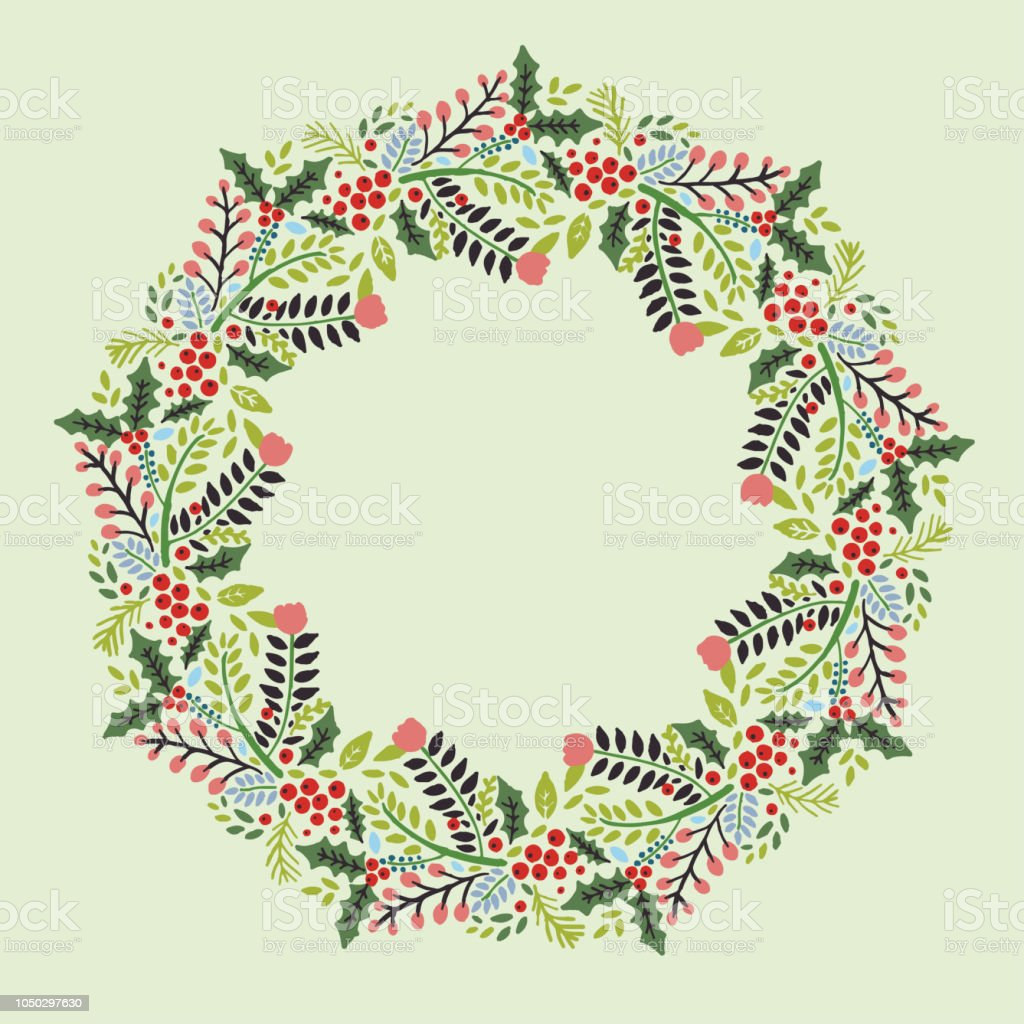 Christmas Hand Drawn Wreath With Round Frame For Cards Design Vector ...
