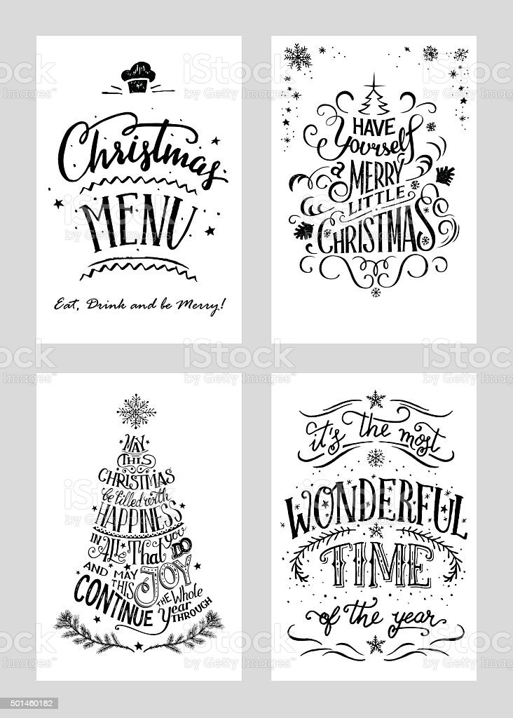 christmas hand lettered greeting cards set stock vector art more