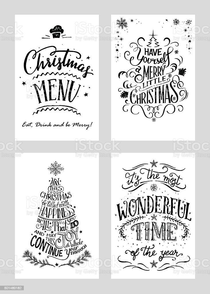Christmas hand lettered greeting cards set vector art illustration