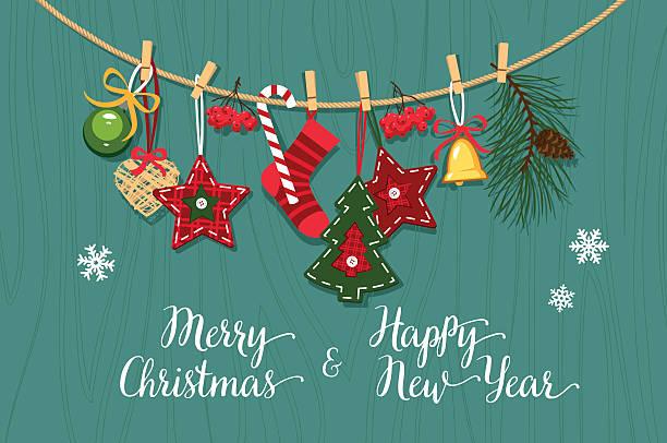 Christmas handmade decorations on a wooden surface - ilustración de arte vectorial