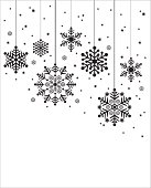 Christmas Hanging Snowflakes in Silhouette