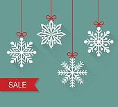 Christmas paper card with hanging snowflakes. Sale. Vector flat illustration.