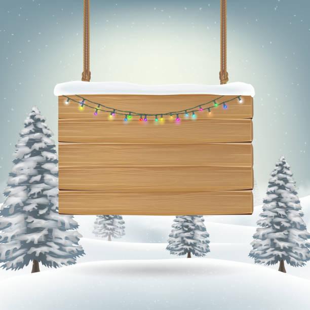 illustrazioni stock, clip art, cartoni animati e icone di tendenza di natale appeso cartello tavola di legno sulla neve - tavola natale