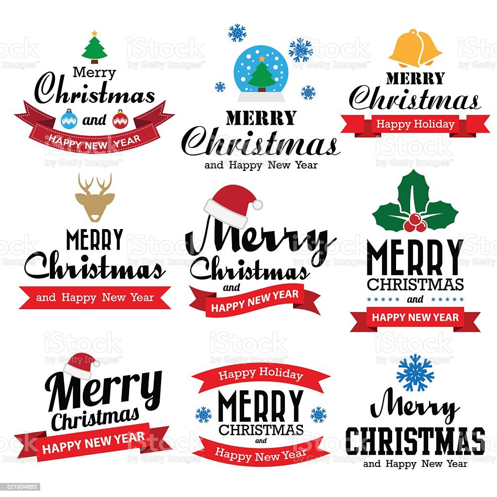 ebdfb1eead81d Christmas Happy New Year Collection Of Calligraphic Typo Stock ...