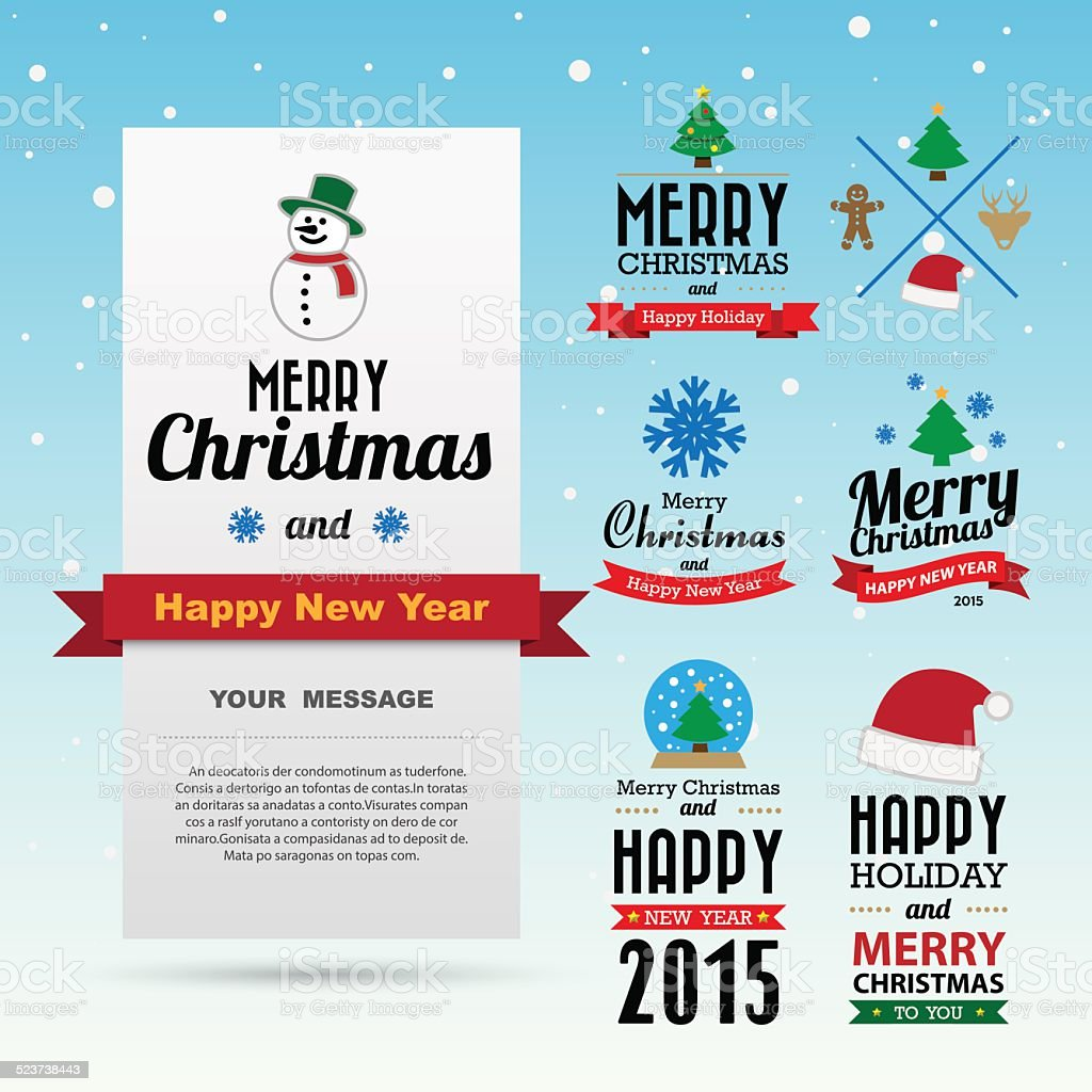 26794bad1b75e Christmas Happy new year collection of calligraphic typo - Illustration .