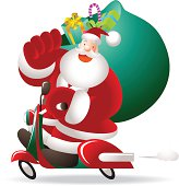 Vector illustration - Merry Christmas: Happy Santa Claus Riding A Motorcycle, Holding Gift Sack.