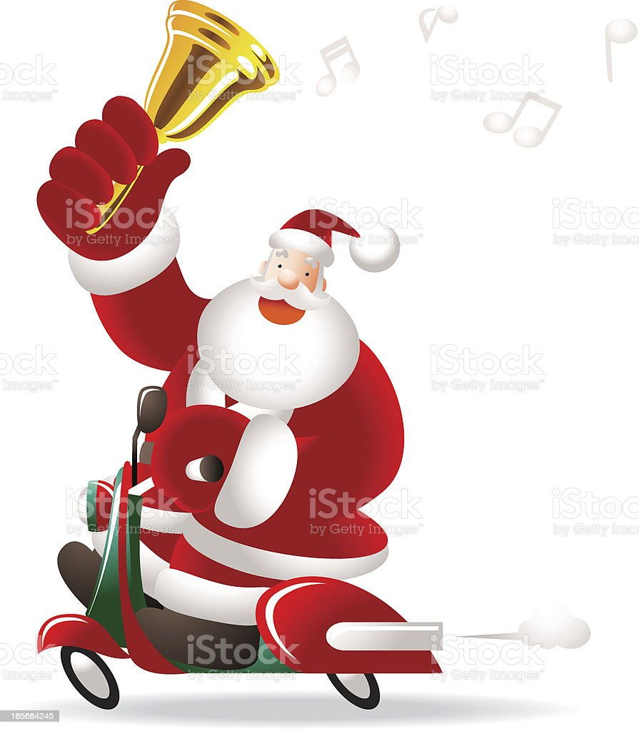 Christmas Happy Santa Claus Riding A Motorcycle Shaking Jingle Bell Stock Illustration Download Image Now Istock