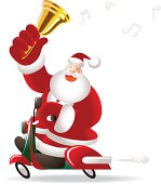 Vector illustration - Merry Christmas: Happy Santa Claus Riding A Motorcycle, Shaking Jingle Bell.