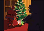 Room decorated Christmas tree, Santa Claus with a bag and a child who