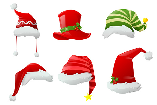 Christmas hat collection. Hats of different Christmas characters. Big set of realistic Santa hats isolated on white background. Cartoon new year face masks. Vector illustration