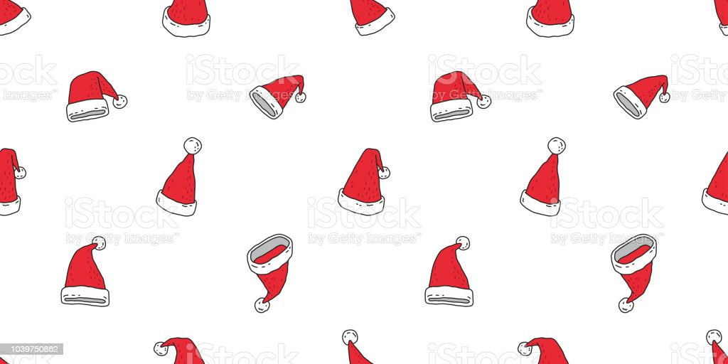 Christmas Hat Seamless Pattern Vector Santa Claus Snowman