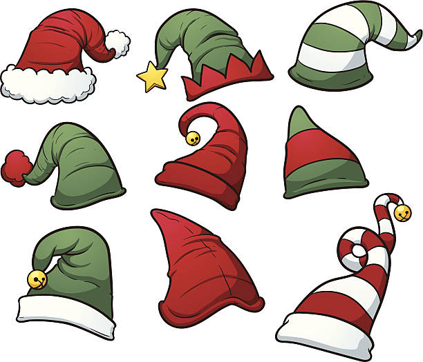 Christmas hats Christmas hats clip art. Vector cartoon illustration with simple gradients. Each hat on a separate layer. santa hat stock illustrations