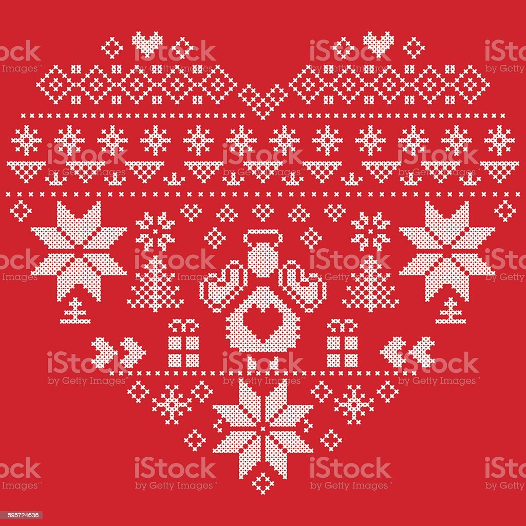 Christmas Heart Vector.Christmas Heart Shape Red Pattern With Angel Stock