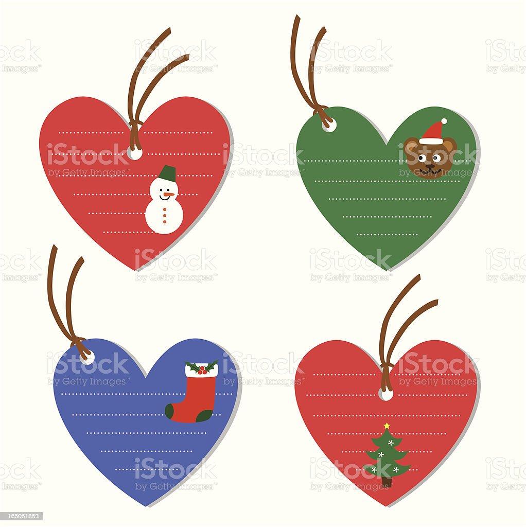 Christmas heart shape tags royalty-free stock vector art