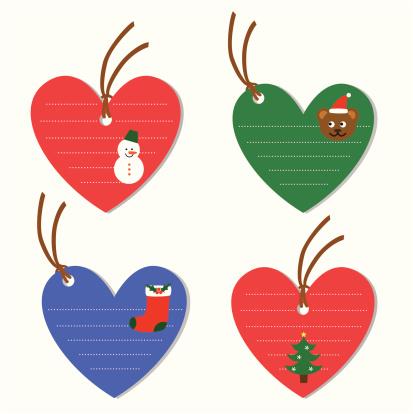 Christmas heart shape tags