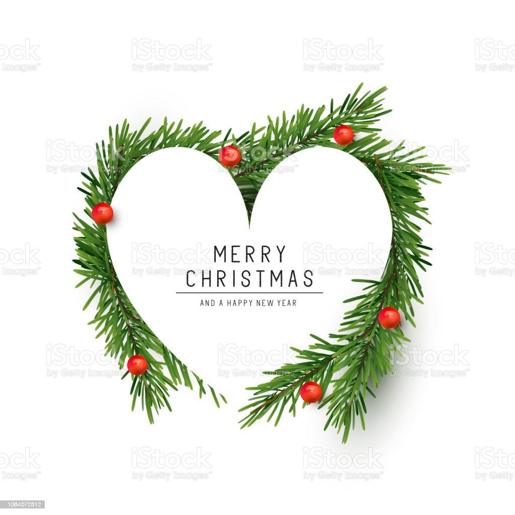 Christmas Heart Vector.Christmas Heart Shape With Fir Branches Stock Vector Art