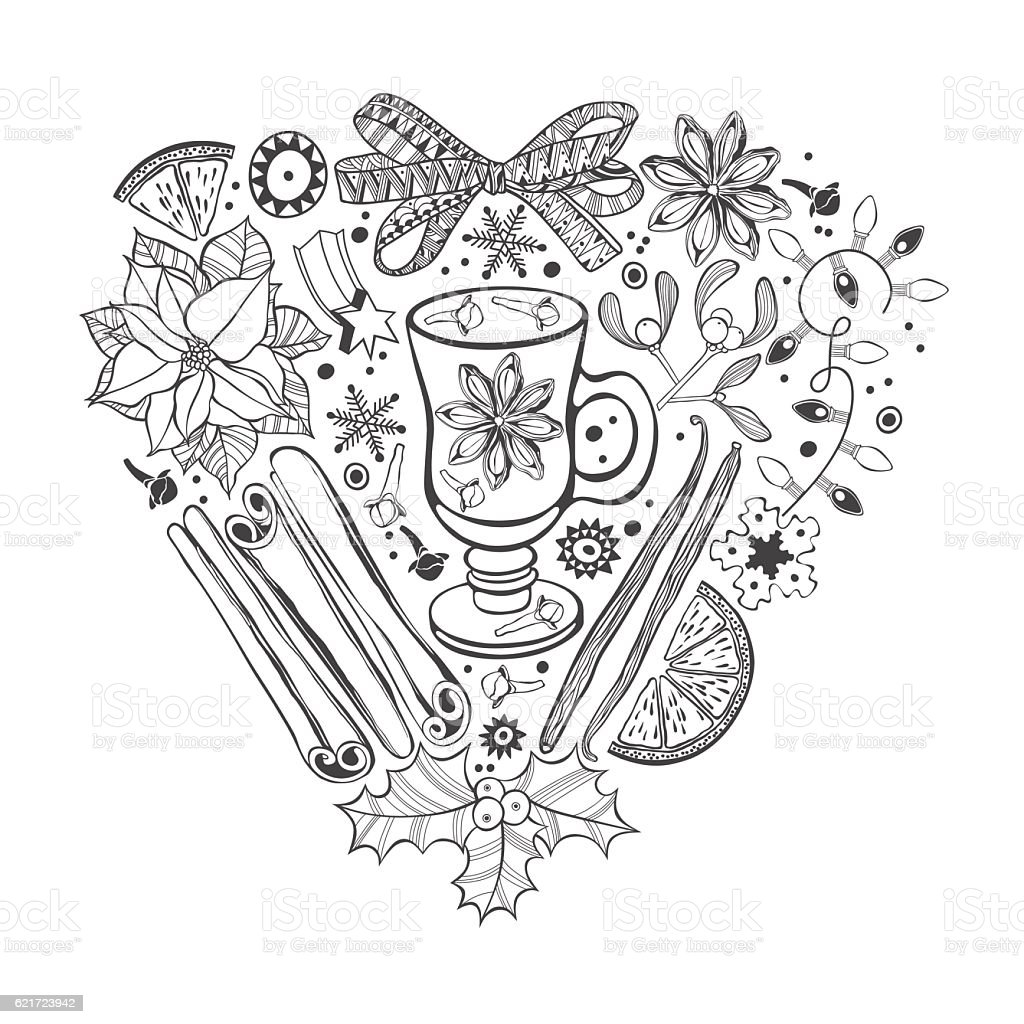 Christmas heart vector illustration of a traditional