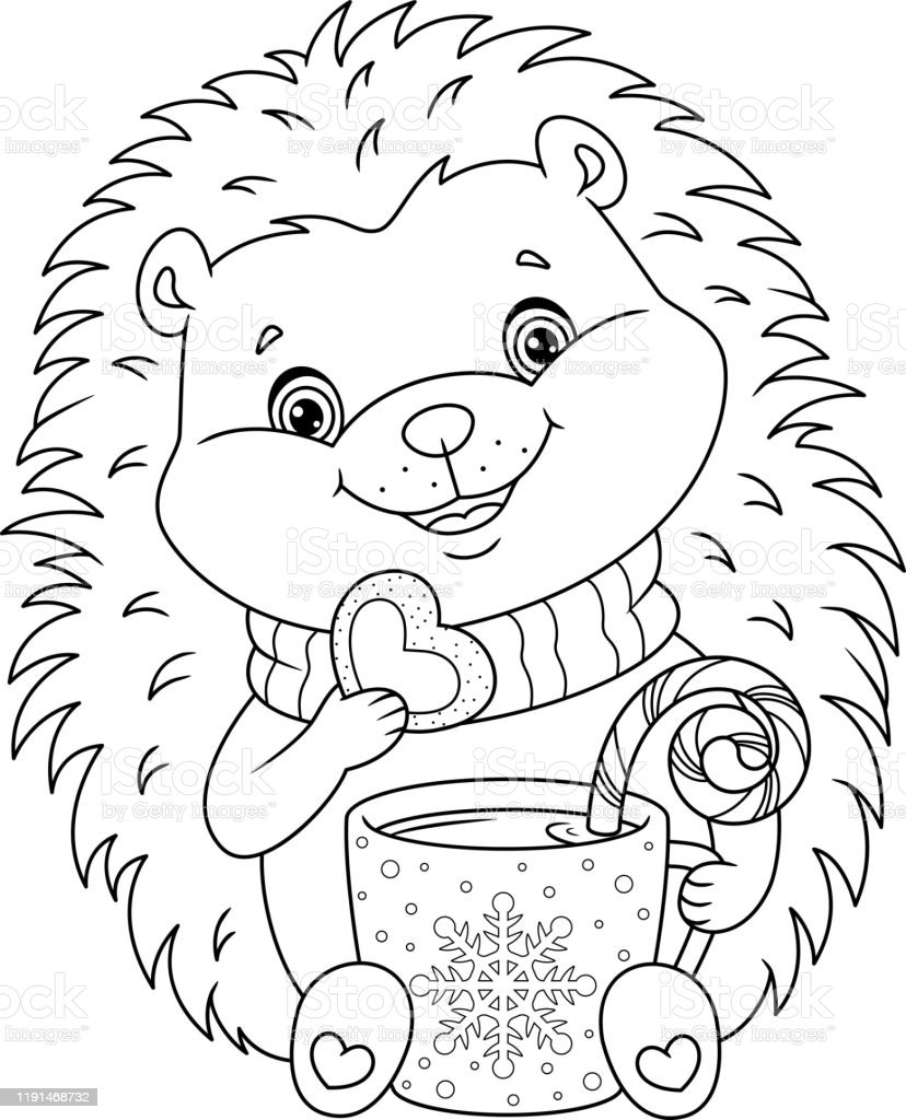 Christmas Hedgehog Coloring Page Stock Illustration Download Image Now Istock