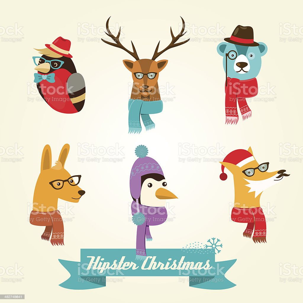 Christmas hipster animals. Vector illustration vector art illustration