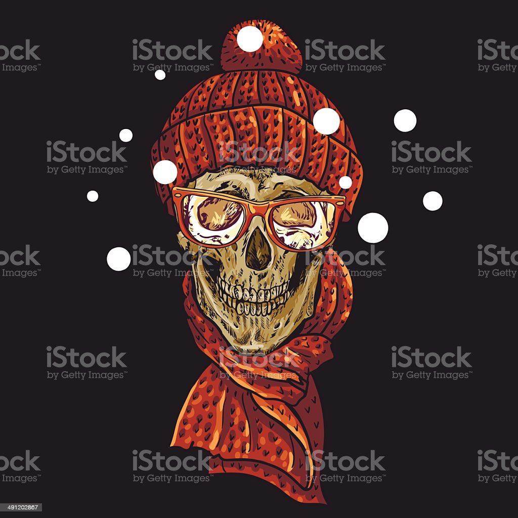 Weihnachtenhipster Schädel Winterabbildung Stock Vektor Art und mehr ...