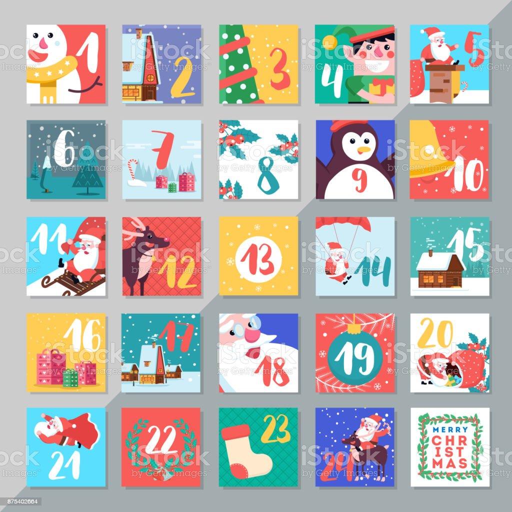 Christmas Holiday Advent Calendar Template Design Merry Xmas Da