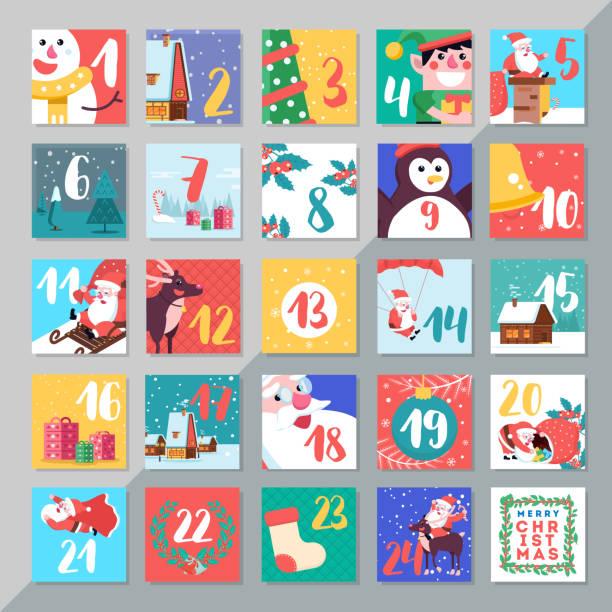 ilustraciones, imágenes clip art, dibujos animados e iconos de stock de navidad vacaciones adviento calendario plantilla diseño. feliz da de la navidad - adviento