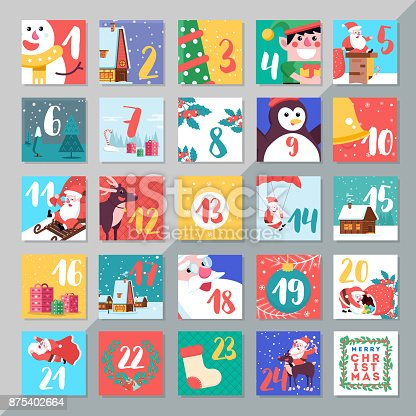 Christmas Holiday Advent Calendar Template Design Merry Xmas Da