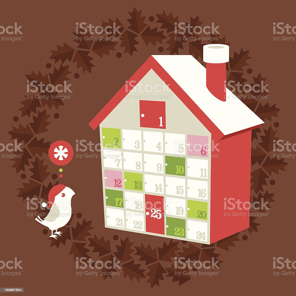 Christmas holiday advent calendar vector art illustration