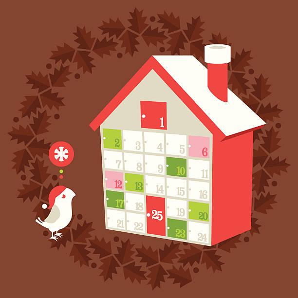 weihnachten urlaub adventskalender - adventskalender tür stock-grafiken, -clipart, -cartoons und -symbole