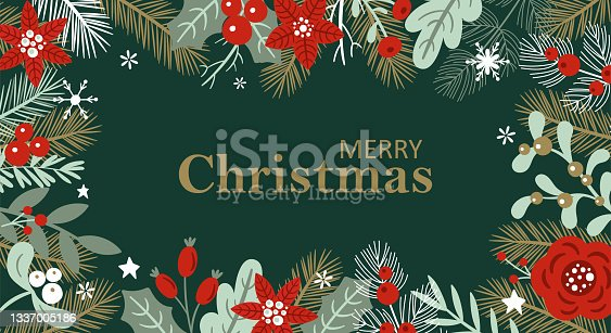 istock Christmas holiday background design with winter flowers and pine tree branches. Template for greeting card, banner and poster 1337005186