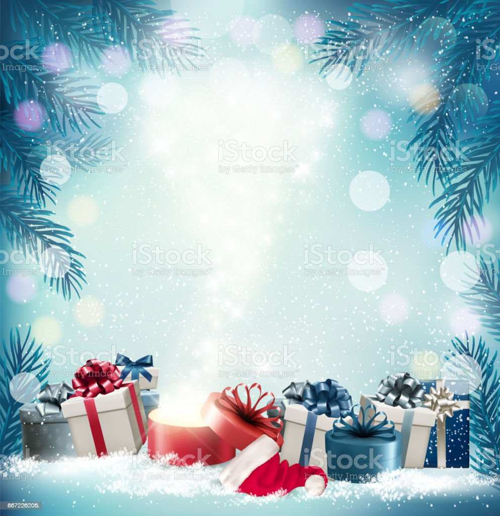 Christmas Holiday Background.Christmas Holiday Background With 2018 And Magic Box Vector