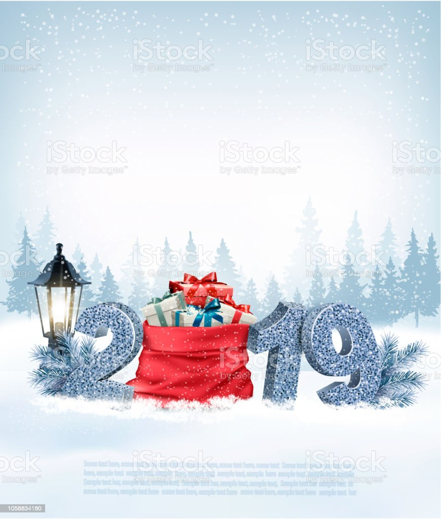 Weihnachten Urlaub 2019.Weihnachten Urlaub Hintergrund Mit 2019 Und Roten Säckchen Mit