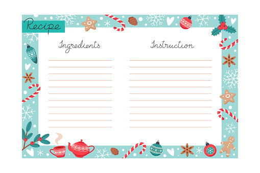 Christmas holiday baking recipe template with ingredients and instructions copy space