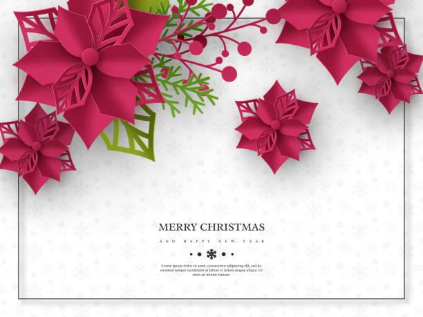 stockillustraties, clipart, cartoons en iconen met kerst vakantie banner. 3d-papier knippen stijl poinsettia met bladeren. witte achtergrond met frame en groet tekst, vector illustratie - kerstster