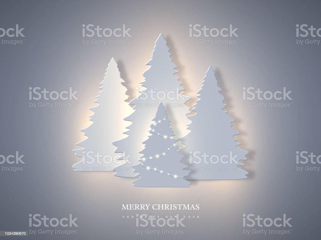 Weihnachten Urlaub Banner mit Papier schneiden Stil Tanne und leuchtenden Lichter. Neujahr Hintergrund, Vektor-Illustration. - Lizenzfrei Abstrakt Vektorgrafik