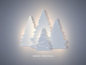 Christmas holiday banner with paper cut style fir-tree and glowing lights. New year background. Vector illustration.