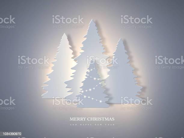 Weihnachten Urlaub Banner Mit Papier Schneiden Stil Tanne Und Leuchtenden Lichter Neujahr Hintergrund Vektorillustration Stock Vektor Art und mehr Bilder von Abstrakt