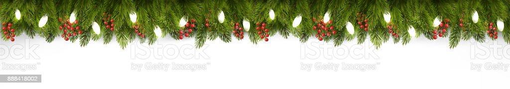 Weihnachten Urlaub Board mit Zweigen des Baumes und Garland. Vektor. – Vektorgrafik