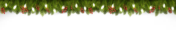 christmas holiday board with branches of tree and garland. vector. - light through trees stock illustrations