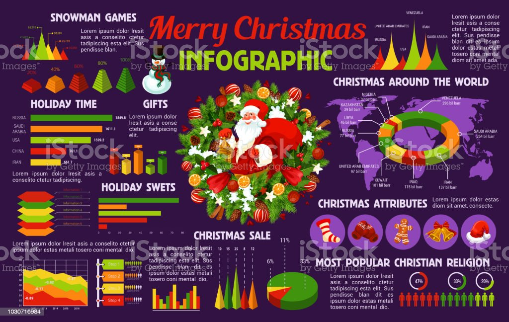 christmas holiday celebration infographic template stock vector art