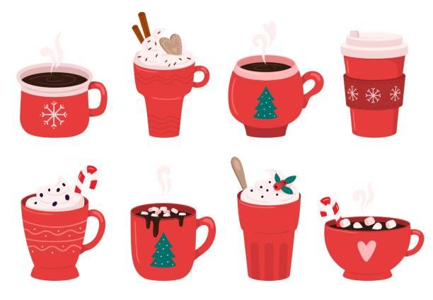 weihnachten urlaub kaffeebecher. kakao mit marshmallows, winterlich wärmenden getränken und heißen espresso tasse vektor illustration set - weihnachtsschokolade stock-grafiken, -clipart, -cartoons und -symbole