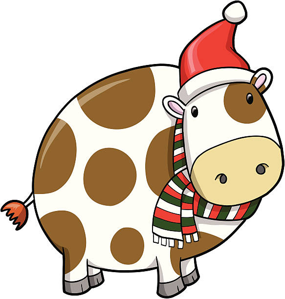 Christmas Holiday Cow vector art illustration