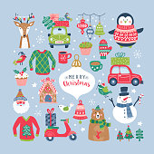 Christmas holiday cute elements set. Childish print for cards, stickers, apparel and nursery decoration. Vector Illustration