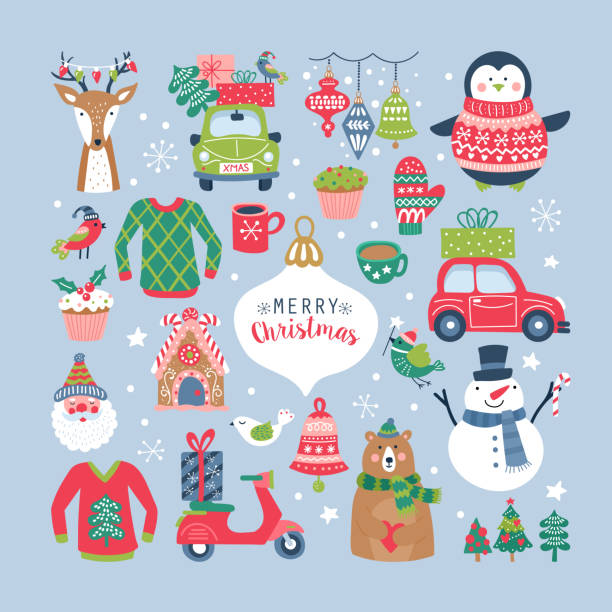 Christmas holiday cute elements set Christmas holiday cute elements set. Childish print for cards, stickers, apparel and nursery decoration. Vector Illustration snowman stock illustrations