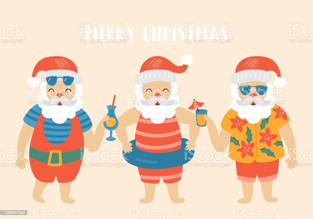 Christmas holiday cute elements set with Santa Claus on sea beach vector art illustration