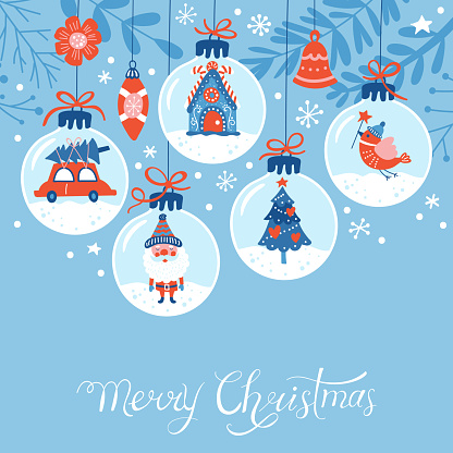 Christmas Holiday Cute Greeting Card Design Stock Illustration - Download Image Now
