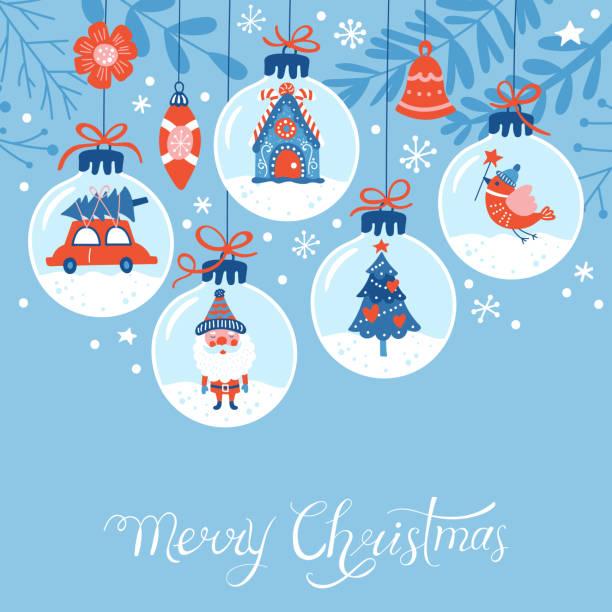 stockillustraties, clipart, cartoons en iconen met kerst vakantie leuke wenskaarten ontwerp - kerstbal