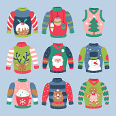 Christmas holiday cute ugly sweater elements set. Childish print for cards, stickers, apparel and nursery decoration. Vector Illustration