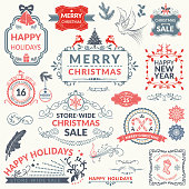 Holiday Christmas Label or badge. Flat colors, easy to edit. Pastel blue and red